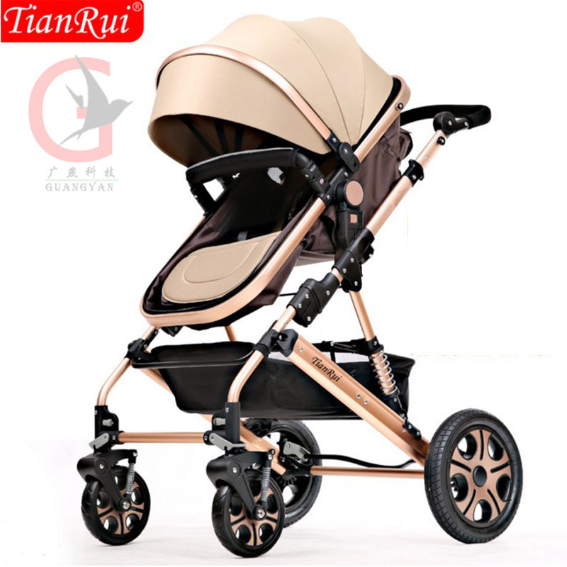 TIANRUI Baby Stroller 3 in 1 8 Free Gifts Folding Carriage Buggy Pushchair Pram High Landscape Newborn Infant Car 4 Wheels цена 2016