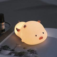 Luz de noche para gato Animal de silicona colorida recargable USB LED lámpara de mesa dormitorio niños regalo(China)