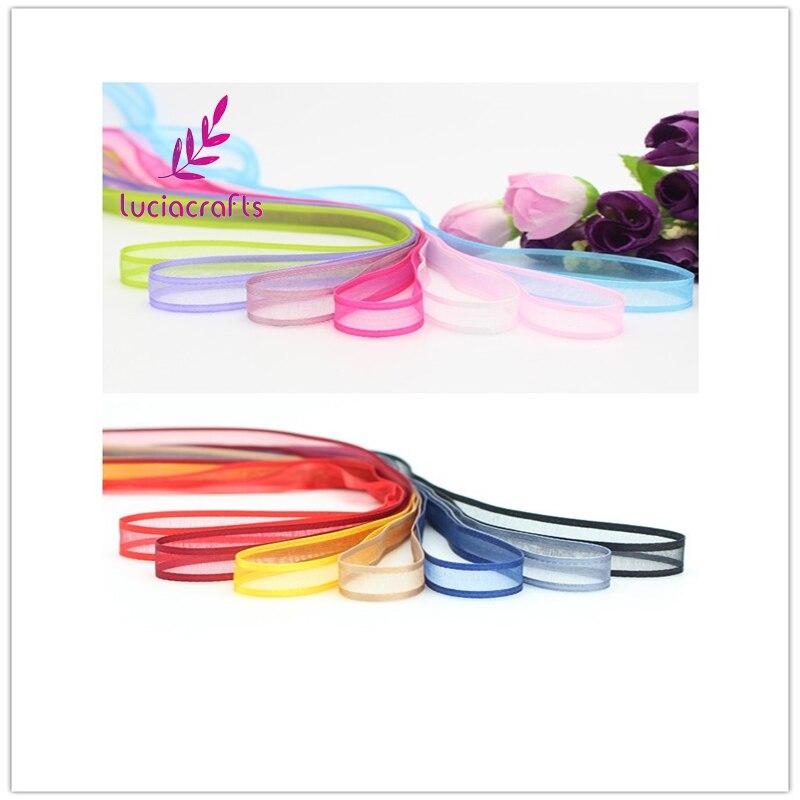 Lucia ремесла нескольких цветов Варианты 10 мм органза ленты одежда материалы DIY Вышивание и волос Лук интимные аксессуары 040044067