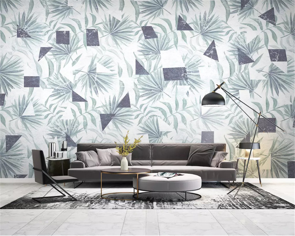beibehang Customized interior painting 3d wallpaper Nordic tropical plants geometric lines TV background wall papers home decor in Wallpapers from Home Improvement