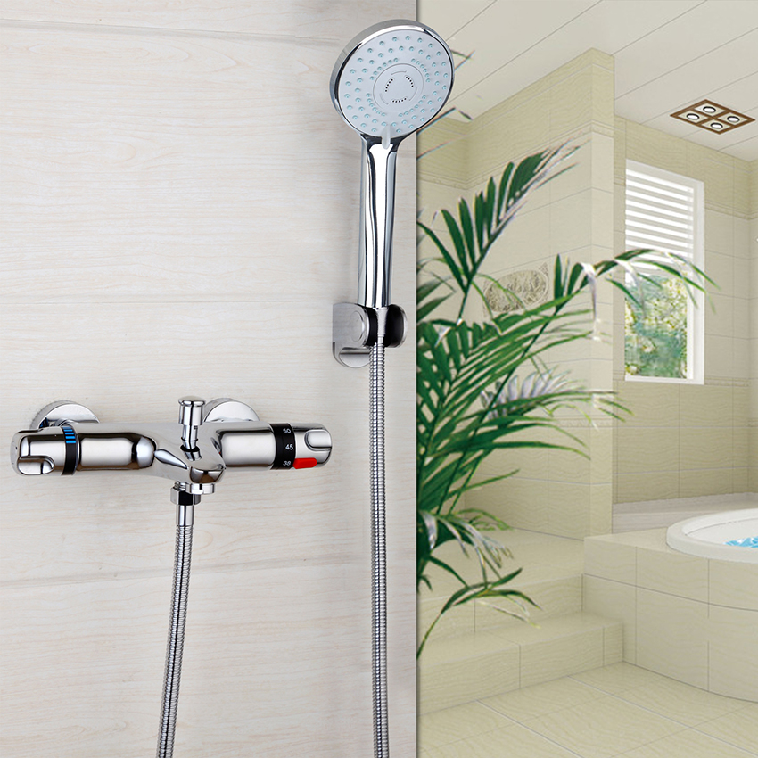 RU STOCK Bathroom Contemporary Wall Mounted Thermostatic Faucets Polished Chrome Mixer Tap Shower Set Rain Bathtub Faucets Set chrome finish dual handles thermostatic valve mixer tap wall mounted shower tap