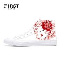 أول الرقص أزياء الرجال الكلاسيكية قماش الأحذية العالية أعلى أحذية الرجال الشقق عارضة تنفس البيضاء عالية أعلى أحذية الشتاء الأبيض 2018