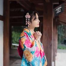 Fashion Girl Japanese Style Robe Vintage Kimono Yukata With Obi Novelty Halloween Cosplay Costume Women Evening Dress Gown