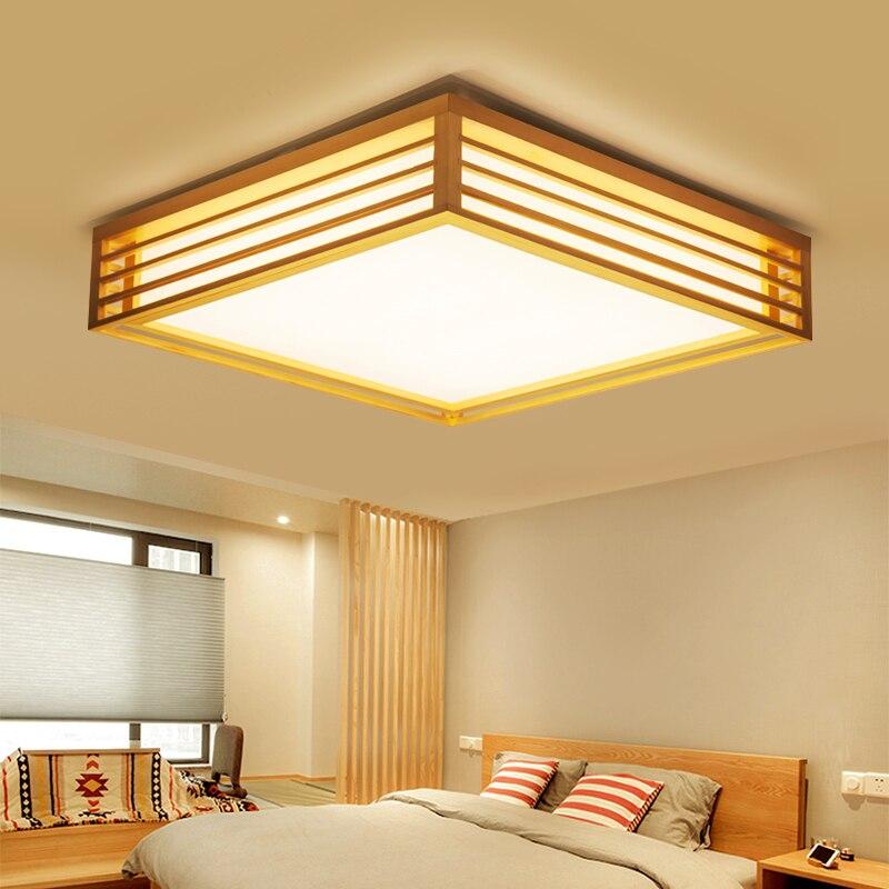Japanese Tatami Wooden Led Ceiling Light Simple Square Living Room Bedroom Hotel Villa Light