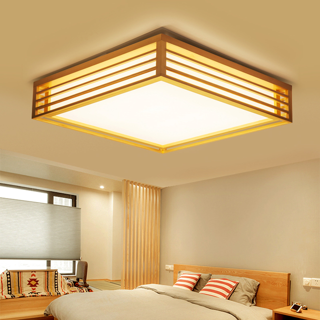 Japanese Tatami Led Ceiling Lamp Bedroom Ultra Thin: Japanese Tatami Wooden LED Ceiling Light Simple Square