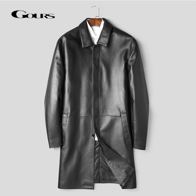 Gours Hommes Hiver En Cuir Véritable Vestes de Marque De Mode en peau de Mouton Noir Long Manteaux chaud en hiver Nouvelle Arrivée Plus La Taille HSMP001