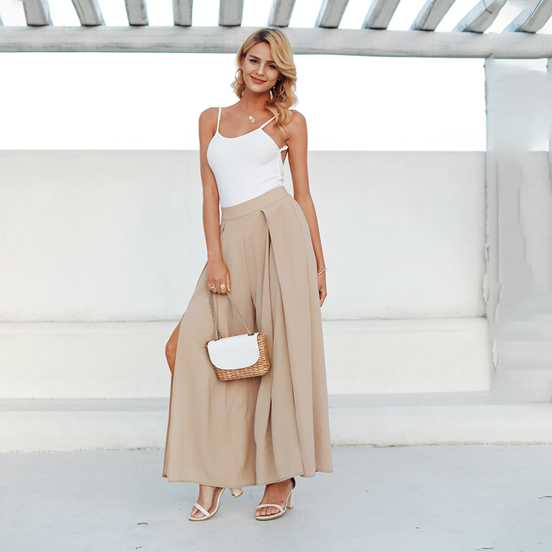 Simplee Elegant women summer pants Wide leg elastic high waist split trousers Casual streetwear fashion female palazzo pants 3