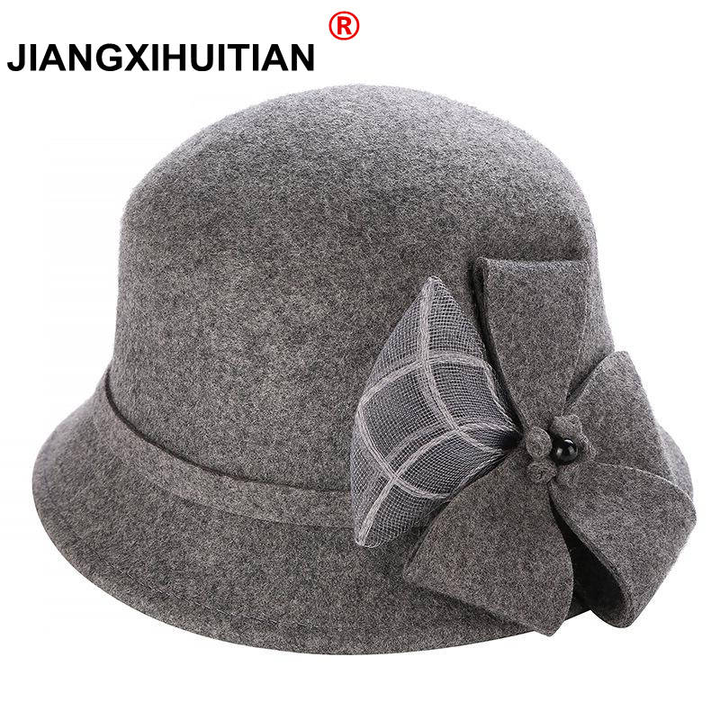 162b33d23ed Vintage Stylish Fall Winter 100% Wool Fedoras Hat For Women Flowers Top Hat  For Lady