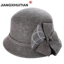 Винтажная Стильная осенне зимняя 100% шерстяная фетровая шляпа для женщин с цветами, верхняя шляпа для девушек, Женская флоппи Кепка с бантиком