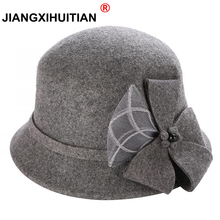 Cappello fedora Vintage elegante autunno inverno 100% lana per donna fiori cappello a cilindro per Lady Girls Floppy cartoon cappello a bombetta in feltro femminile
