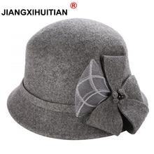 Vintage Stylish Fall Winter 100% Wool Fedoras Hat For Women Flowers Top Hat For Lady Girls Floppy Cartola Female Felt Bowler Cap