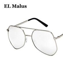 1ed2990a25 [EL Malus] Big Metal marco gafas de sol hombres mujeres gris rosa amarillo  lente espejo oro plata Shades Retro gran tamaño gafas.