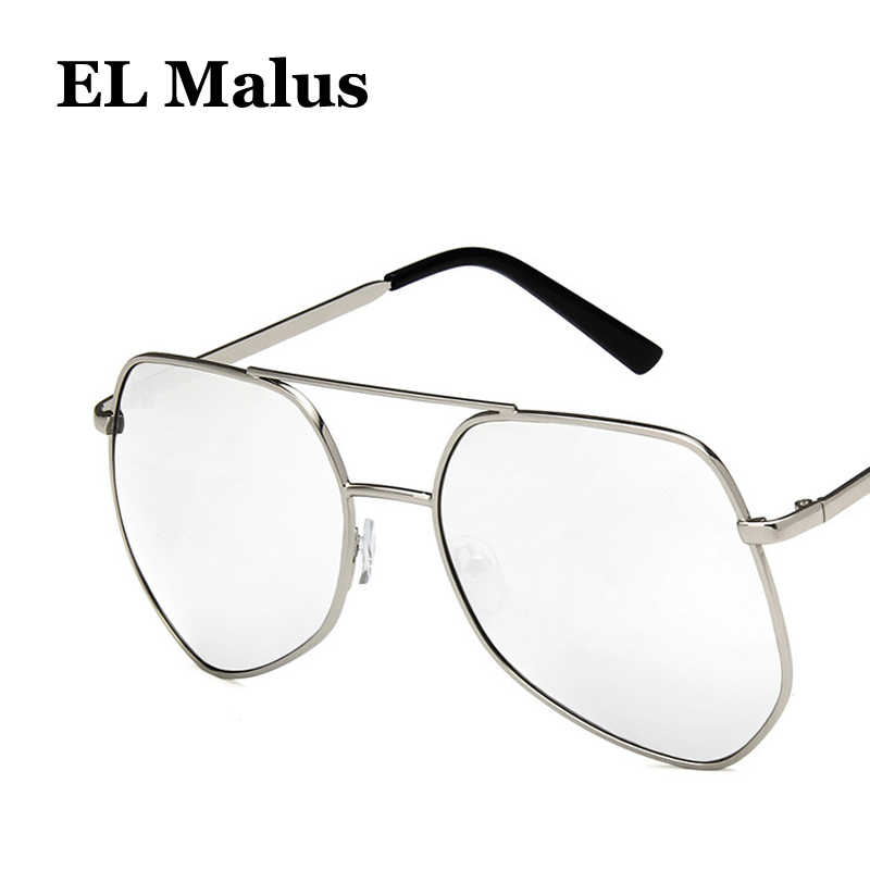 63ce93a66 [EL Malus]Big Metal Frame Sunglasses Men Women Gray Yellow Pink Lens Mirror  Gold