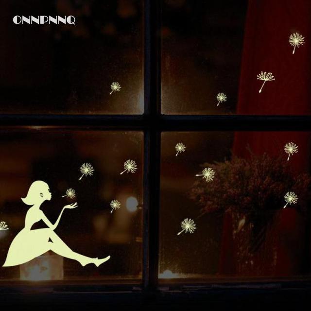 2pcs Luminous Stickers Dandelion Girl Wall Glow In The Dark Wallpaper For Kids Room Vinyl