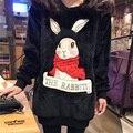 Ropa más del tamaño de las mujeres de conejo otoño invierno primavera suéter flojo de manga larga de terciopelo de franela gruesa sudadera prendas de vestir exteriores femenina