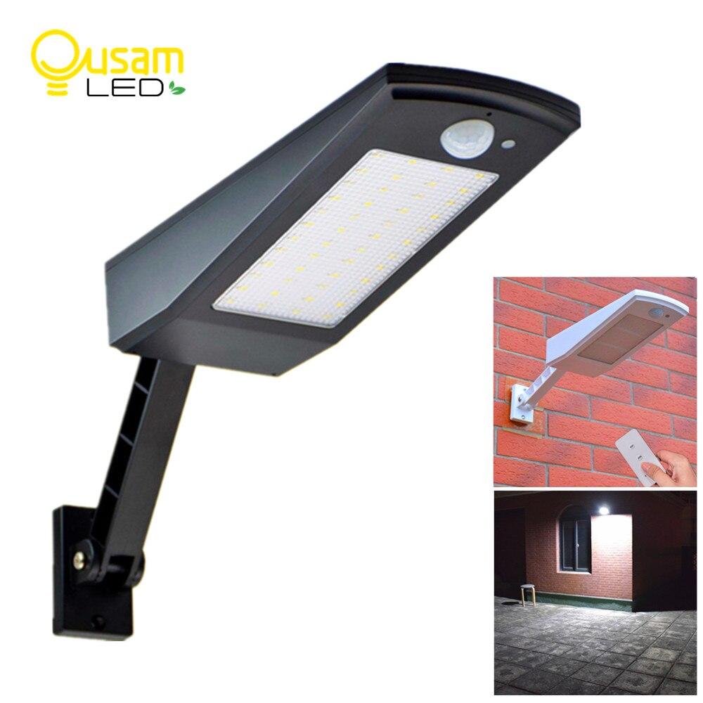 900LM luz Solar Sensor de movimiento PIR 48 LED Auto con Control remoto ajustable Solar de la lámpara impermeable para el jardín al aire libre
