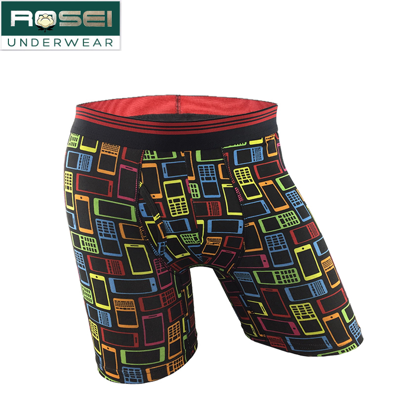 ROSEI long lege underwear cotton men boxer short plus size underpants soft cuecas boxer breathable calzoncillos comfort sexy