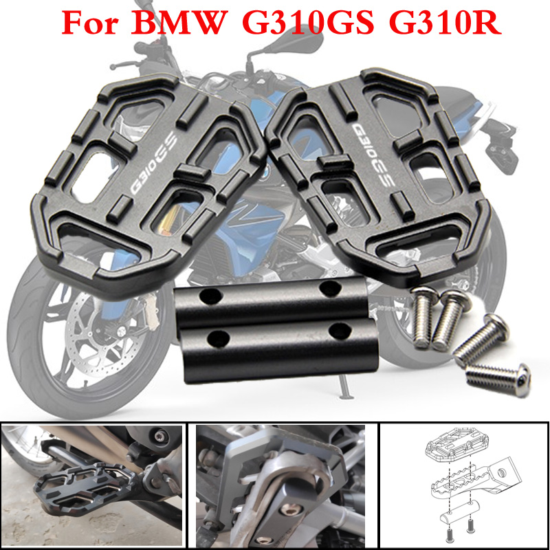 CNC AluminumMotorcycle Billet MX Wide Foot Pegs FootRest Footpegs Rests Pedals For BMW G310GS G310R 2017-2019