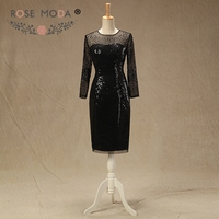 Rose Moda Long Sleeves Black Short Prom Dress Sequined Illusion Prom Dresses Knee Length Party Dresses 2018