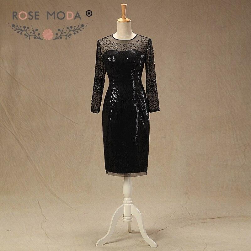 Rose Moda manches longues noir robe de bal courte pailletée robes réfléchissantes 2019