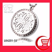 30mm Magnetic Stainless Steel Essential Oil Diffusing Perfume Floating Locket with Flower Filigree Front