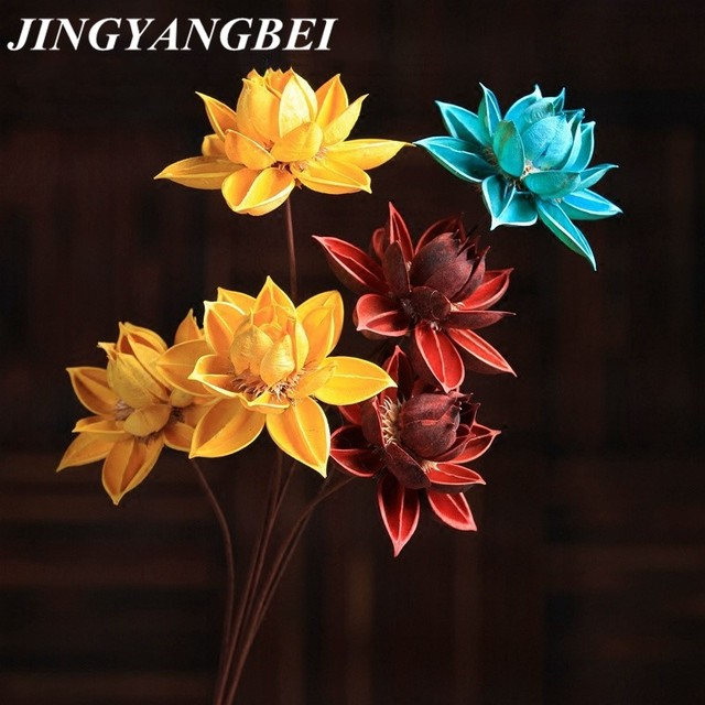 85cm Natural Diy Hibiscus Lotus Dried Flower Wedding Decoration For