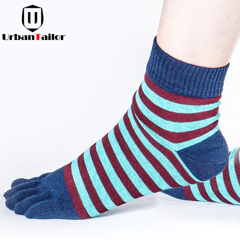 Sale Brand Men Five Toe Striped Socks Male Casual Cotton Funny Socks High Quality Workout Fashion Five Finger Happy Socks