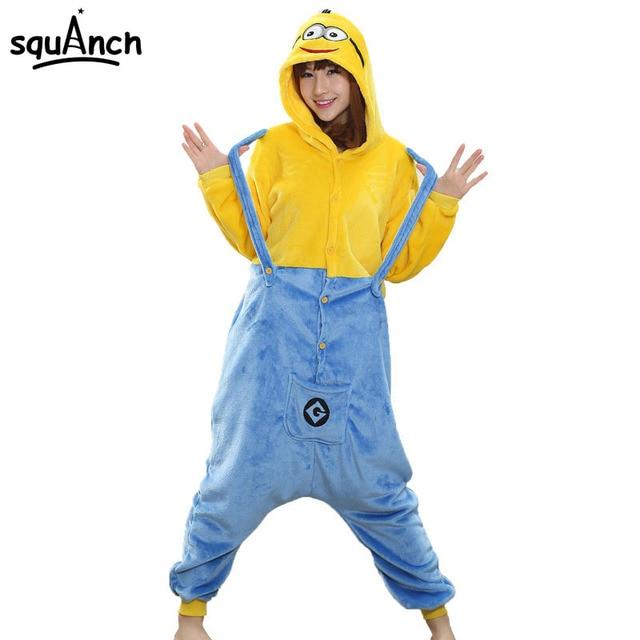 36b91ee5ee92 Women Adult Onesie Minions Pajama Anime Cartoon Costume Funny Jumpsuit  Yellow Blue Sleep Wear Carnival Party