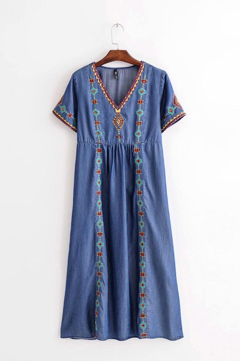 WISHBOP NEW 2018 Woman Blue Denim Embroidered Sequined detail Midi dress V  neck Short Sleeves-in Dresses from Women s Clothing on Aliexpress.com  fada38fbb4f3