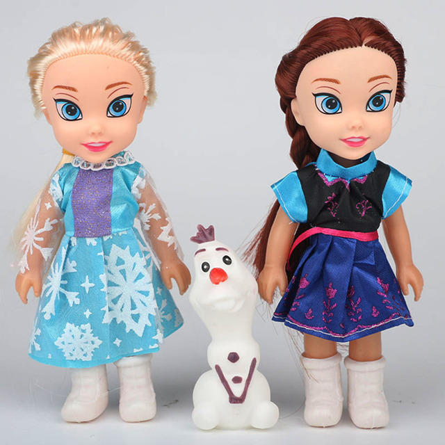 2017 2pcs Princess Anna Elsa Dolls For Girls Toys Princess Anna Elsa Dolls For Girls Toys 16cm Small Plastic Baby Dolls