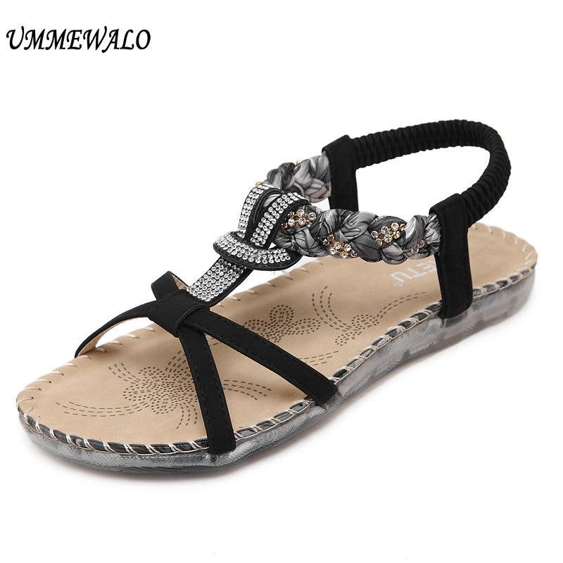 UMMEWALO Sandals Women Thong Flat Strappy Sandals Designer Flowers Rhinestone Gladiator Sandal Summer Shoes Zapatos Mujer