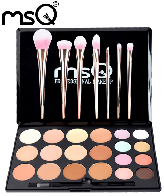 MSQ Professional Makeup Set 20 Colors Concealer Palette And 7pcs Makeup Brushes Set Synthetic Hair Techniqueing