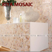 Free Shipping RIYA natural shell Mother of Pearl mosaic tiles Pink and yellow 20mm No gap background wall Smallpox Bar 33pcs/lot