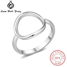 Minimalist Open Circle Rings for Women 925 Sterling Silver Fine Jewelry Gift Round Female Ring Finger Size 6 7 8 (Lam Hub Fong) f i n s vintage old 925 sterling silver rings for women retro round elizabeth portrait finger ring female costume fine jewelry