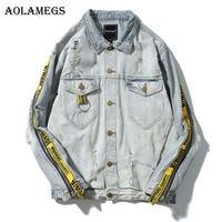Aolamegs Denim Jacket Men Patchwork Gold Ribbon Cowboy Punk Rock Men's Jacket High Street Fashion Outwear Men Coat 2017 Autumn
