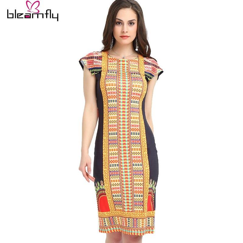 New Boho Dashiki Dress Vintage Bodycon Sundress Ladies Sexy traditional African Print Dresses Female Sexy Clothing Indian Robe