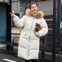 Fashion Simple and elegant Female winter down jacket long multi-pocket Raccoon Fur large fur collar design loose warm coat цена 2017