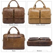 "Genuine Leather Mens Bags Tote Crossbody Bags Men's Briefcase Laptop 14""  Messenger Bag Men's shoulder bag Leather"
