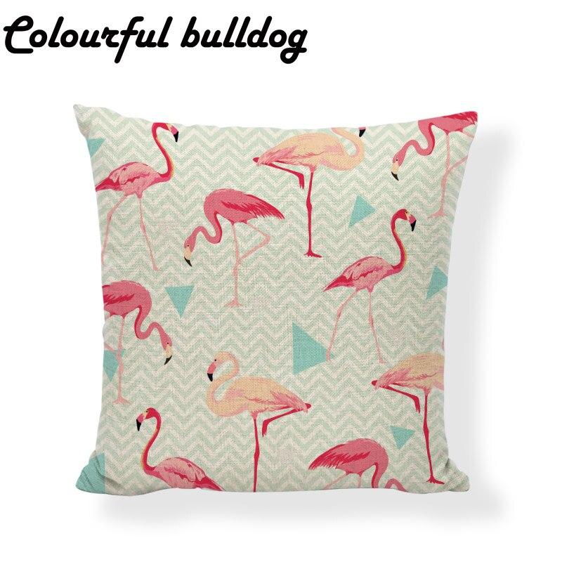 Лидер продаж стильные Чехлы для подушек Розовый фламинго тропических растений 45*45 см летние Перо полосатый Trigon Домашний Декор Пледы Наволо...