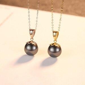 Image 2 - Настоящее чистое 18 К Золотое ювелирное изделие 6 цветов натуральный жемчужный кулон ожерелье s модное простое женское ожерелье