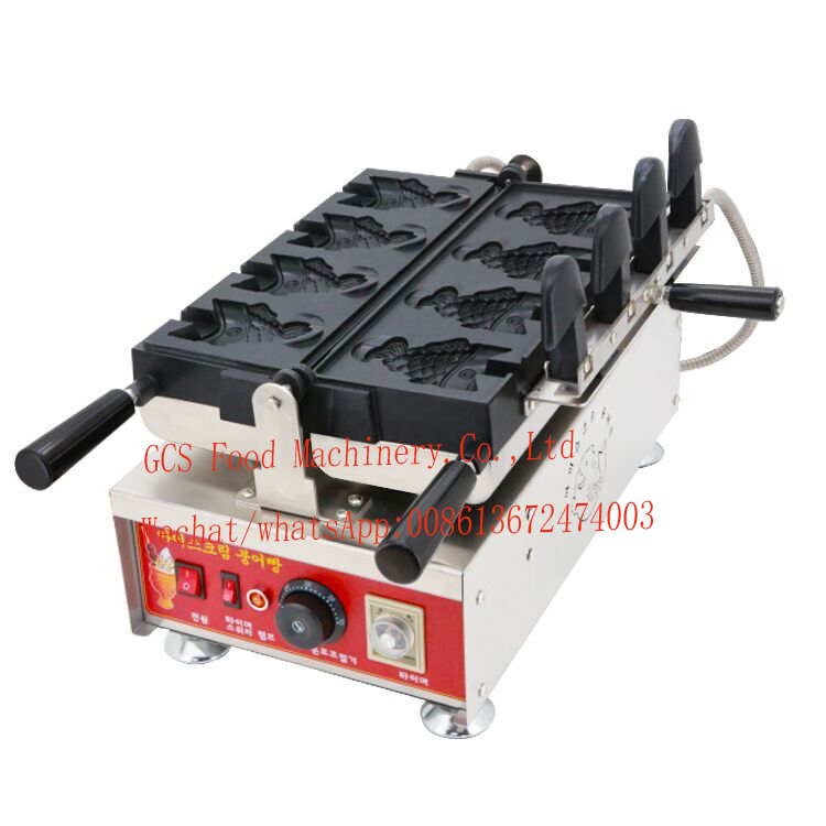 Free Shipping Cost Electric 110V 220V Commercial Non-stick Coating Japanese Ice Cream Taiyaki Maker Machine