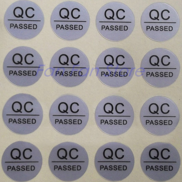 Qc adhesive label sticker custom label sticker qc passed stickers 1000pcs lot silver color round silver pet warranty label in stationery sticker from office
