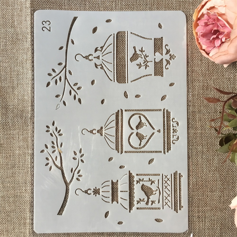 New 26cm Bird Cage Branch DIY Craft Layering Stencils Painting Scrapbooking Stamping Embossing Album Paper Card Template