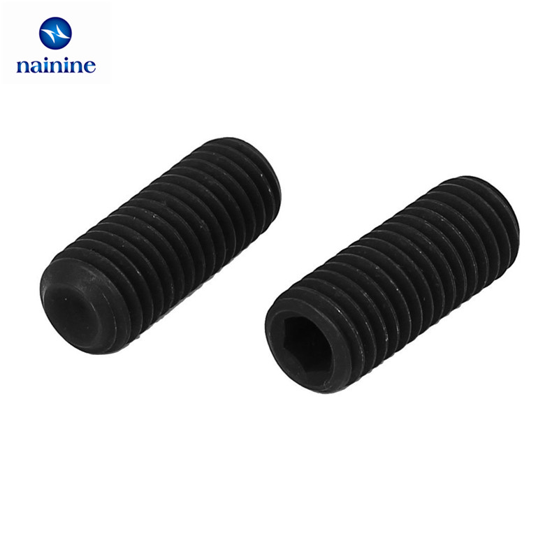 50Pcs M2 M2.5 M3 M4 M5 M6 DIN916 Black Carbon Steel Metric Thread Grub Screws Inner Hexagon Socket Set Screw HW025 m4 m4 10 m4x10 m4 16 m4x16 316 stainless steel 316ss din916 inner hex hexagon socket allen head grub cup point set screw