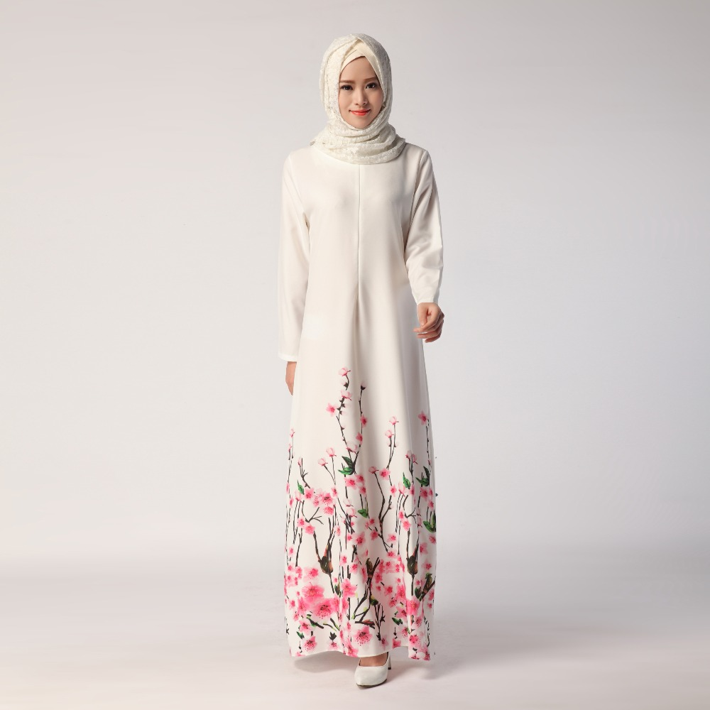 2018 Women Muslim Dress Digital Printed Long Sleeve