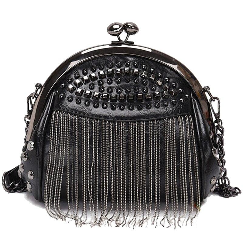 NEW-Retro Tassel Fashion Shell Bag New Rivet Personality Clip Lock Single Room Messenger Bag Tide