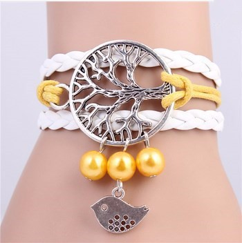 2018 fine braided tree bird jewelry metal leather bracelets imitation pearl bracelets wholesale factory price Multilayer Rope