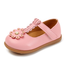 Pink Beige black Spring Autumn New Kids shoes Baby girls leather flower little baby for Soft-soled 1 2 3 4Year