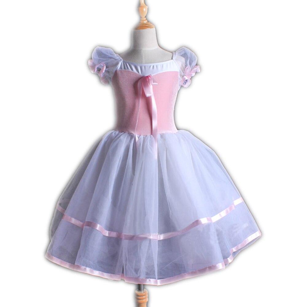 Justaucorps de gymnastique Long rose pour les filles à manches courtes robe de pratique de Ballet enfants Costumes body Performance porter robe de danse