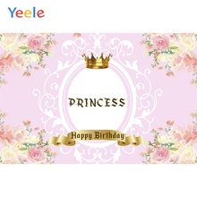 Yeele Princess Backdrop Gold Crown Birthday Party Family Celebration Girl Portrait Photo Backgrounds Photocall Studio
